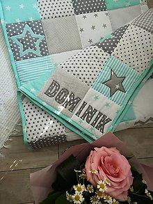 Úžitkový textil - Patchwork deka - Grey & Turquoise - 9737170_