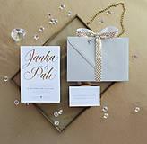 Papiernictvo - Svadobné oznámenie Gold & White - 9735779_