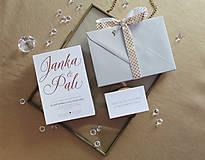 Papiernictvo - Svadobné oznámenie Gold & White - 9735792_