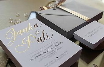 Papiernictvo - Svadobné oznámenie Gold & White - 9735783_