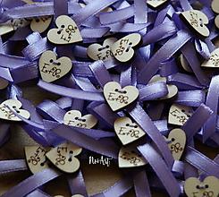 Pierka - Svadobné pierka s mašličkou fialovou - 9736457_