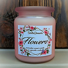 Svietidlá a sviečky - Vonná sviečka zo sójového vosku v skle - Flowers - 250g/70hod - 9734662_