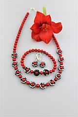 koral červený a hematit náhrdelník náramok náušnice