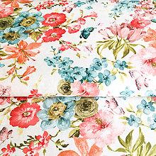 Textil - letné kvety, predzrážaná 100 % bavlna Španielsko, šírka 150 cm - 9736930_