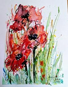 Kresby - Akvarel  - Vlčie maky - 9734800_