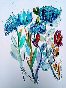 Obrazy - Obraz akvarel - Protea kvety - 9734871_