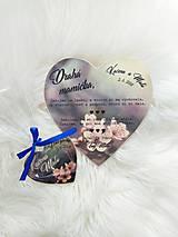 Darčeky pre svadobčanov - Magnetka pre hostí v tvare srdiečka - 9735249_