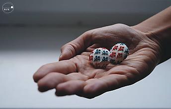 Náušnice - Halúzky červeno - petrolejové - veľké - 9735053_