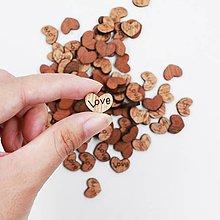 Papier - drevený výrez srdce LOVE 15mm - 9735215_