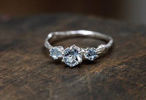 Prstene - Vetvičkový s rozprávkovými akvamarínmi - 9737217_
