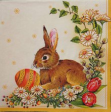 Papier - Zajko s vajíčkom na žltom - 9735533_