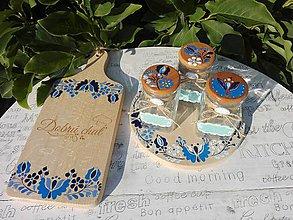 Nádoby - Maľované koreničky SLOVENSKÉ modro - biele + polička - 9737033_
