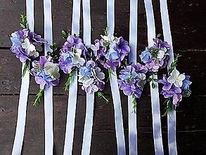 Náramky - Náramky pre družičky fialové - hortenzia - 9737162_