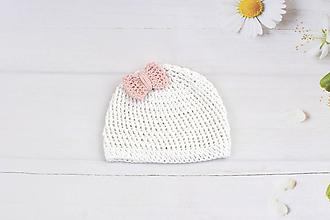 Detské čiapky - Bielo-ružová letná čiapka EXTRA FINE - 9735258_
