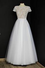 Šaty - Svadobné šaty s transparentým živôtikom a veľkou tylovou sukňou - 9736064_