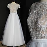 Šaty - Svadobné šaty s transparentým živôtikom a veľkou tylovou sukňou - 9736083_