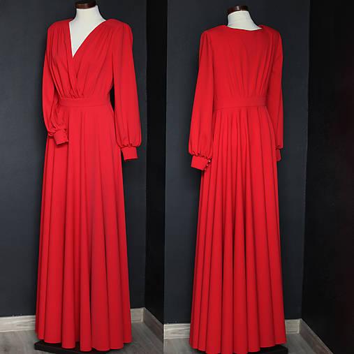 Spoločenské šaty s dlhým rukávom a kruhovou sukňou rôzne farby