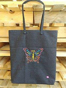 Kabelky - Riflová nákupná taška s motýlikom - 9735474_
