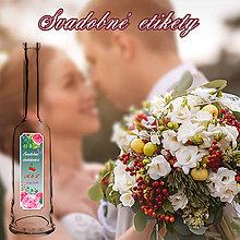 Darčeky pre svadobčanov - Svadobná pálenka vzor 8  (čerešňovica) - 9735122_