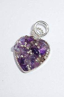 Náhrdelníky - Prívesok srdce malé (Ametyst s granuláciou) - 9734810_