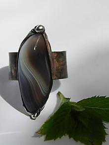 Prstene - Na vlnách - achát sivý, tiffany - 9739931_