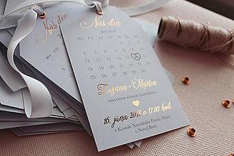 Papiernictvo - Svadobné oznámenie Kalendár Rose Gold - 9738247_