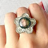 Prstene - Vintage Pink Labradorite Flower Ring / Výrazný vintage prsteň s labradoritom - kvet /0129 - 9737961_