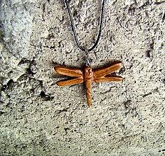 Náhrdelníky - drevený prívesok ,, vážka,, - 9739313_