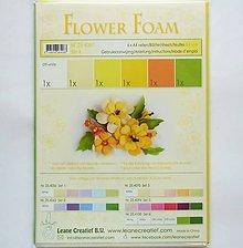 Modelovacie hmoty - Foamiran - flower foam, set 4, hrúbka 0,8 mm, A4, 6 ks - 9737619_