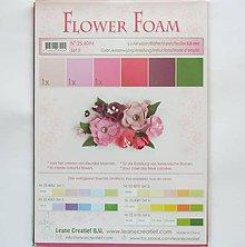 Modelovacie hmoty - Foamiran - flower foam, set 5, hrúbka 0,8 mm, A4, 6 ks - 9738736_