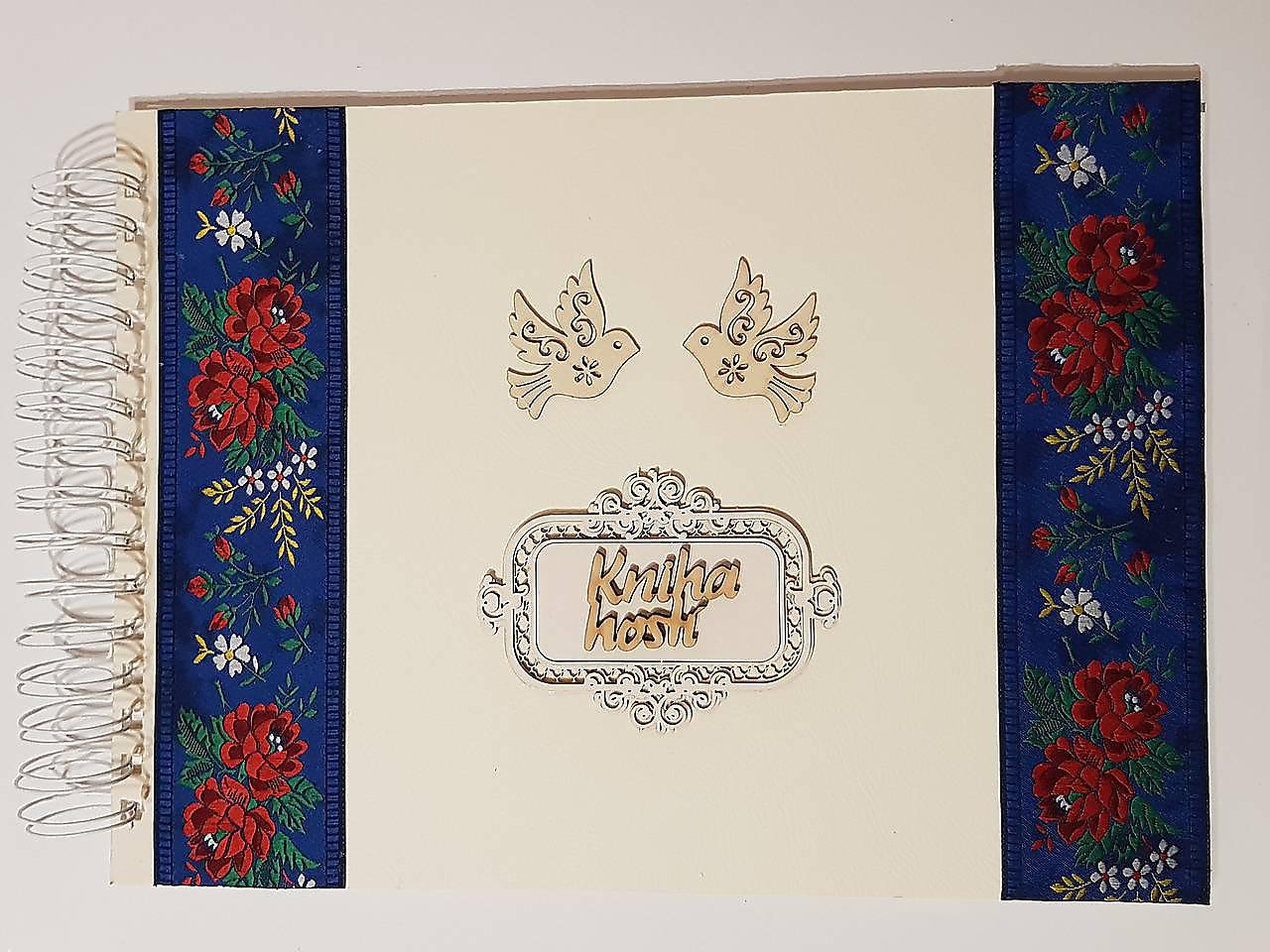 Papiernictvo - folklórna kniha hostí s modrou stuhou A4 - 9739808_