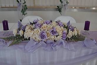 Kytice pre nevestu - výzdoba stola mladomanželov krémovo-fialová - 9738394_