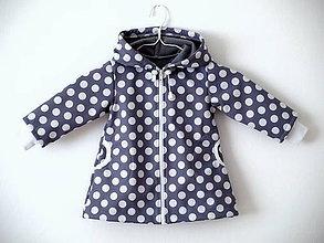 Detské oblečenie - Softshellový kabátik šedý s bielymi bodkami - 9738802_