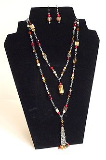 Sady šperkov - Boho Chic - červeno-béžovo-oranžová kombinácia - 9740107_