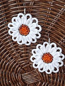 Náušnice - Frivolitkové náušnice -Prírodné - Čipkované kvety - 9737883_