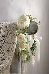 Ozdoby do vlasov - Kvetinový venček ,,ivory,,   - 9737996_