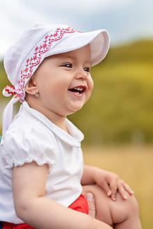 Detské čiapky - Šiltovka folk 100% ľan natural biela - 9739899_