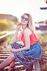Sukne - Denimová sukňa s vyšívanou bordurou - 9738024_