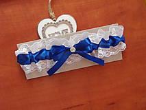 Bielizeň/Plavky - Modrý svadobný podväzok 6 cm so štrasovým šperkom - 9738108_