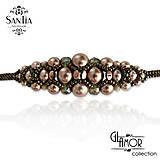 Náramky - Výpredaj: Náramok s perličlami (Hnedo-béžový) - 9738329_
