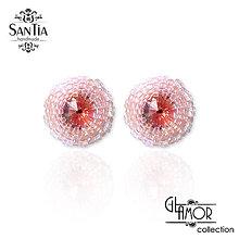 Náušnice - Náušnice: Puzetky Swarovski rôzne farby Ag925 (Ružové) - 9738715_