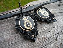Náušnice - Soutache náušnice Luxusné Námornícké Čierno-zlaté - 9740495_