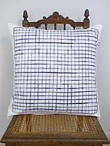 Úžitkový textil - INDIGO akvarelová obliečka - Mriežka - 9740909_