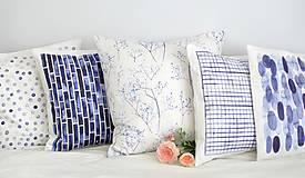 Úžitkový textil - INDIGO akvarelová obliečka - Perie - 9740971_