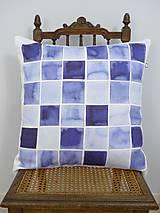 Úžitkový textil - INDIGO akvarelová obliečka - Štvorce - 9741116_