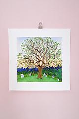 Obrazy - Muzeálna reprodukcia ilustrácie - Storočný strom - 9741685_