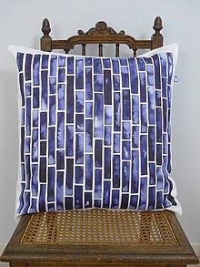 Úžitkový textil - INDIGO akvarelová obliečka - Pásy - 9740935_