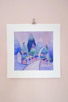 Obrazy - Muzeálna reprodukcia ilustrácie - Mesto v horách - 9741708_