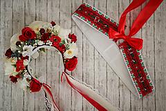 Ozdoby do vlasov - Folklórna svadobná kvetinová parta - 9741171_