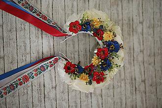 Ozdoby do vlasov - Folklórna svadobná kvetinová parta - 9743283_